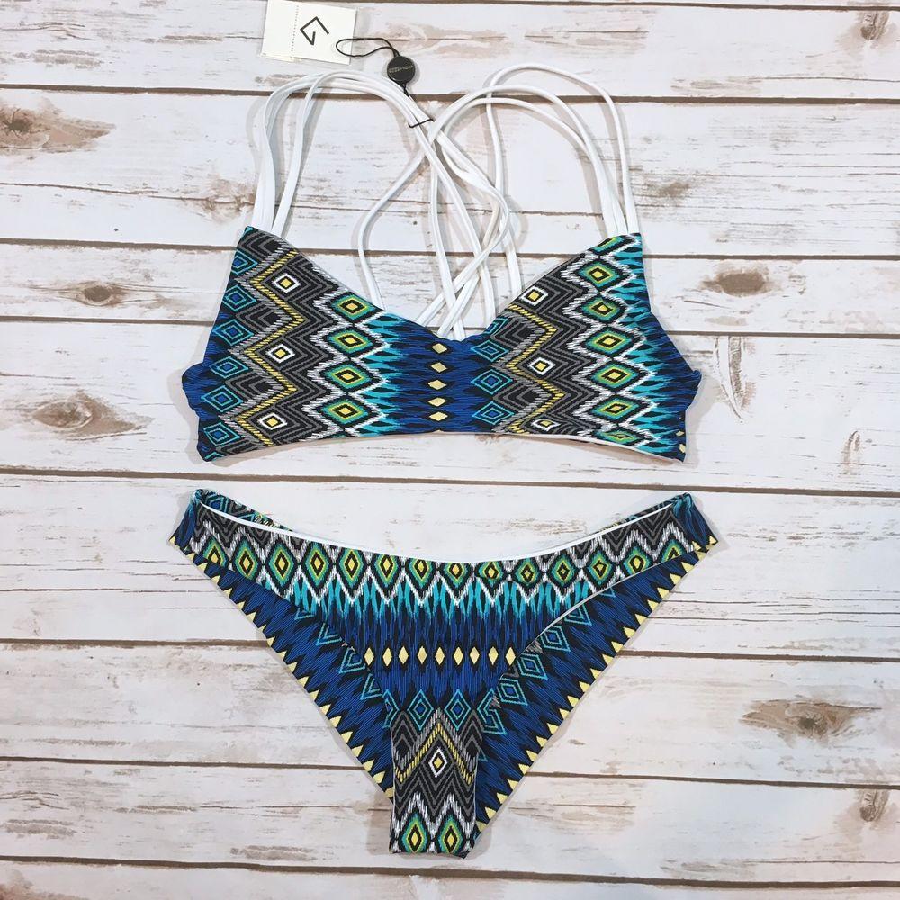 2ad2dbb567755 NWT Khongboon Swimwear Najac Womens XL Cheeky Bikini Swimsuit Tribal Print  NEW   eBay