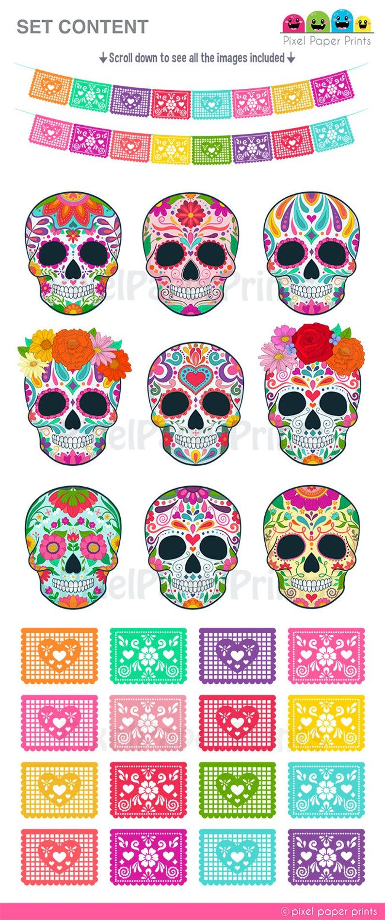 Day Of The Dead Clipart Sugar Skull Dia De Los Muertos Clip Art Digital Download In 2020 Clip Art Digital Sticker Print Planner