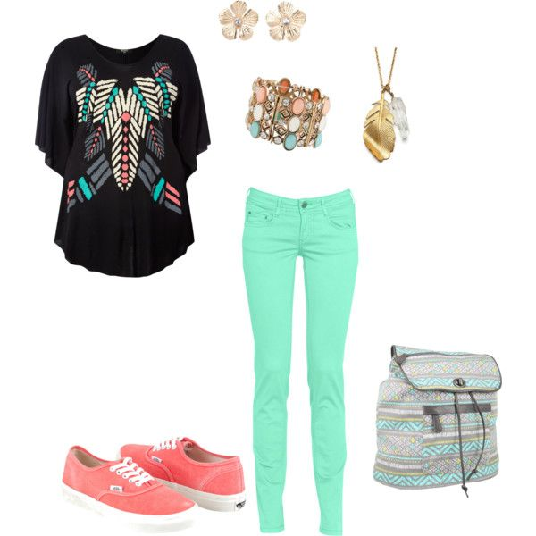 Teal and coral by fashionfanaza on Polyvore featuring polyvore, fashion, style, Koko, CIMARRON, Vans, Dakine, Charlotte Russe, women's clothing and women's fashion
