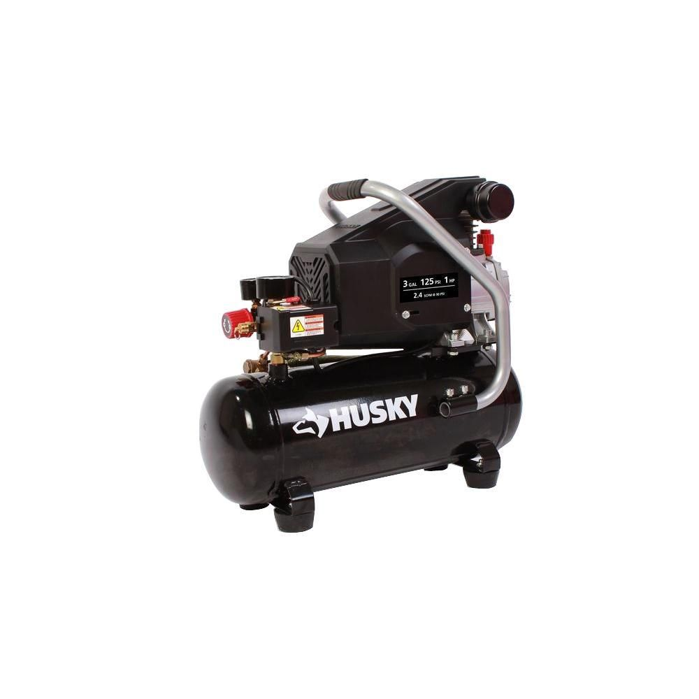 Husky 3 Gal Portable Electric Oil Lubricant Air Compressor With Combo Kit Bs1003 The Home Depot Combo Kit Outdoor Power Equipment Air Compressor