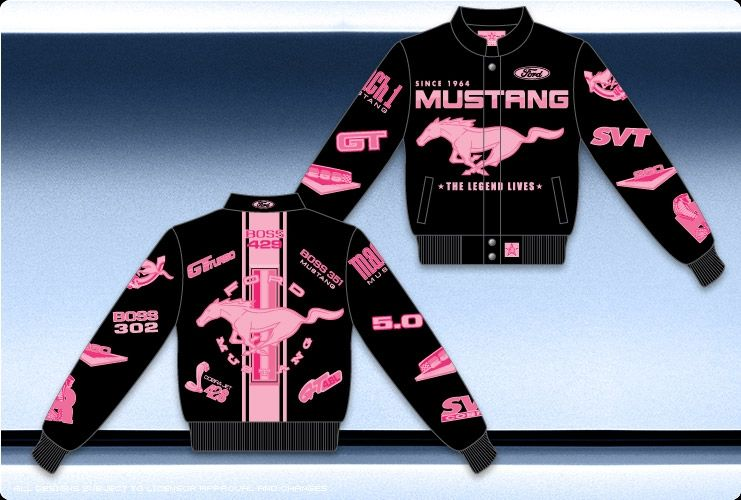 Ford Mustang Collage Ladies Black Twill Jacket Mus307 Clgo Blk Ford Mustang Mustang Black Mustang