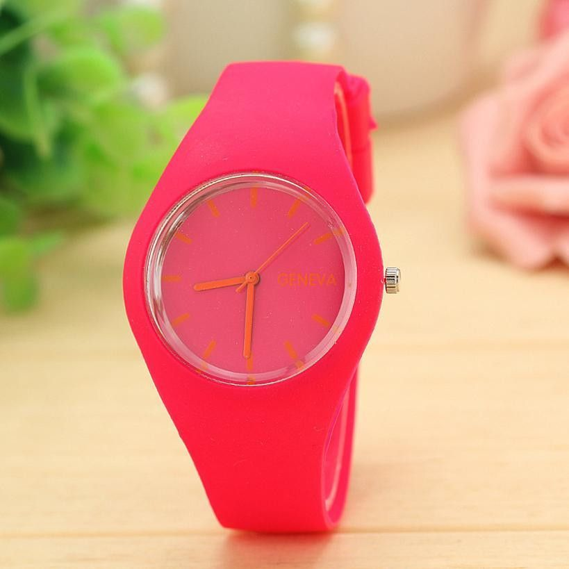 Perfect Gift watches for women Leisure Sports Candy-colored Jelly quartz-watch Silicone Strap ladies bracelet watchJune23