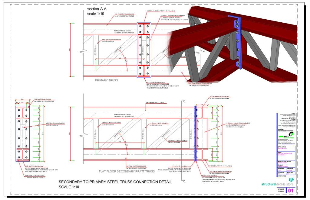 Secondary to Primary Steel Truss Connection Detail  CAD dwg drawing