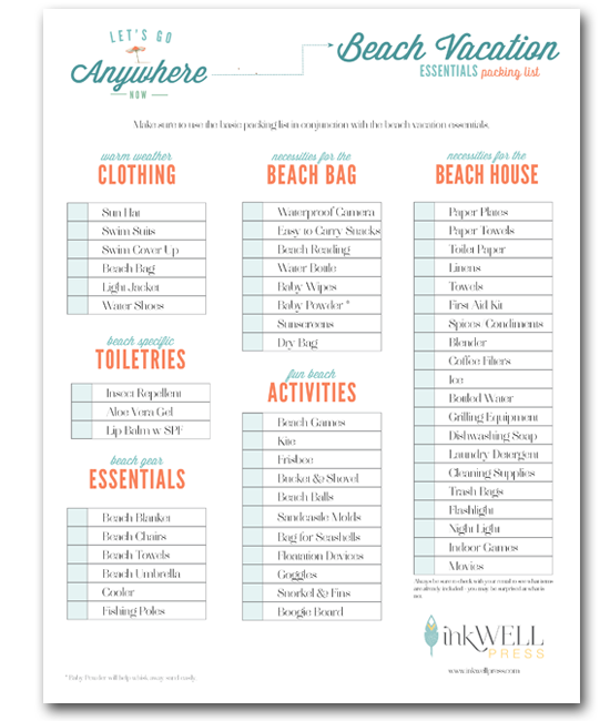 A List Rentals: FREE DOWNLOAD: Travel Packing Checklist