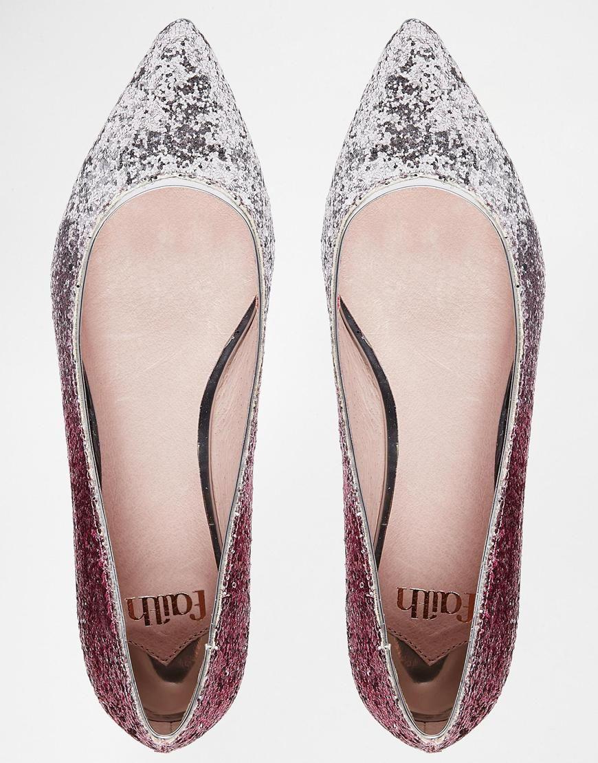 Faith Gipsy Flache Schuhe In Pink Und Ombre Mit Glitzer Schuhe