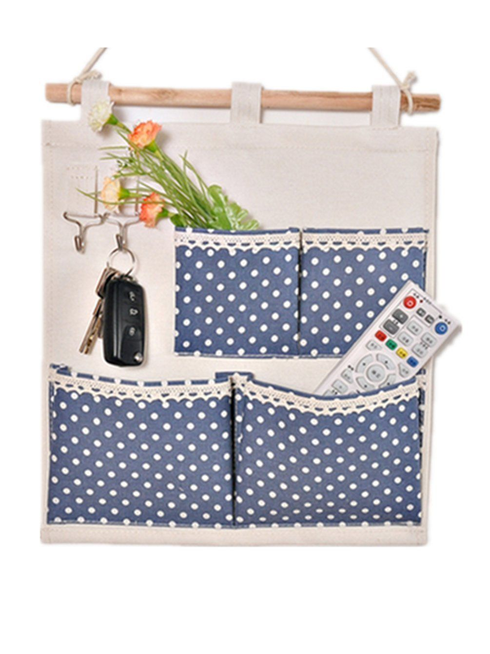 Moolecole Pastoral Style Blue Polka Dots Printed Cotton/Linen Fabric Wall  Hanging Organizer 4