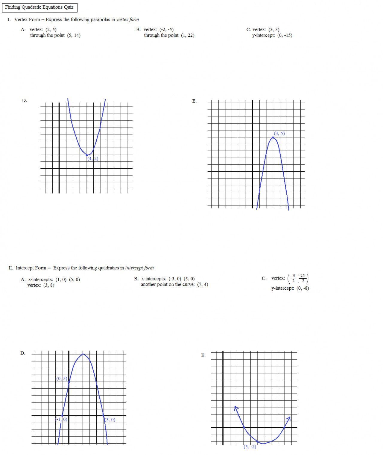 Plotting Quadratic Graphs Worksheet Tes