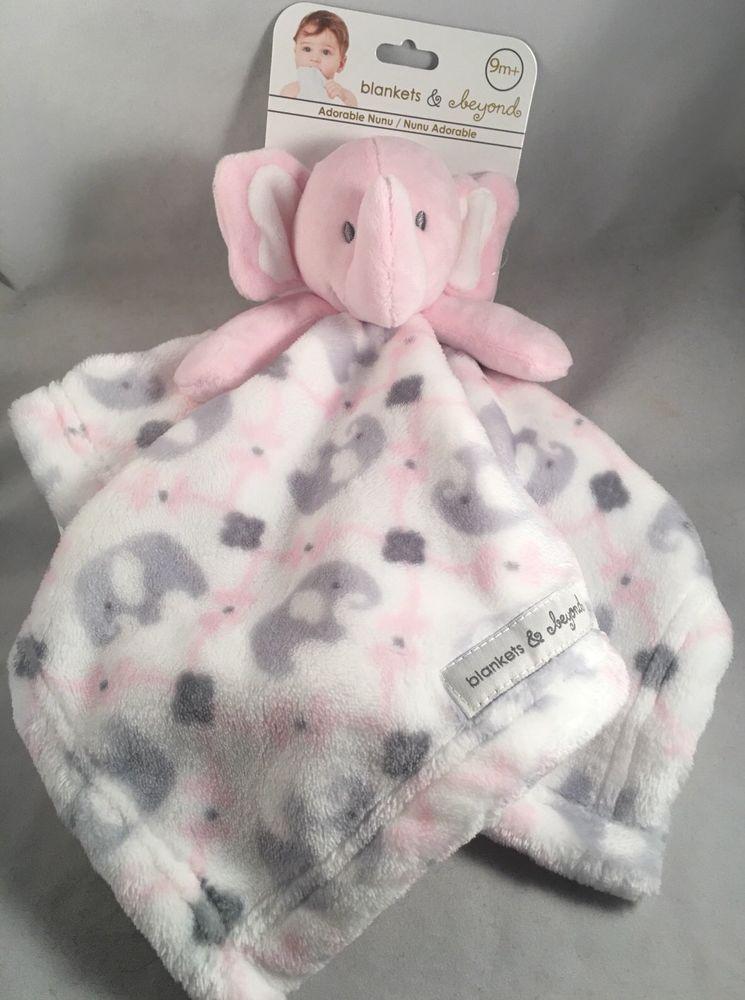 Pink Girl Soft Striped Baby Blanket /& Elephant Lovie Baby Gift Set Blue Boy