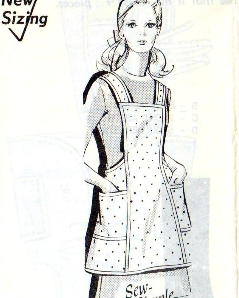 SEW SIMPLE Vintage 60s APRON Sewing Pattern FF UNUSED Large Size ...
