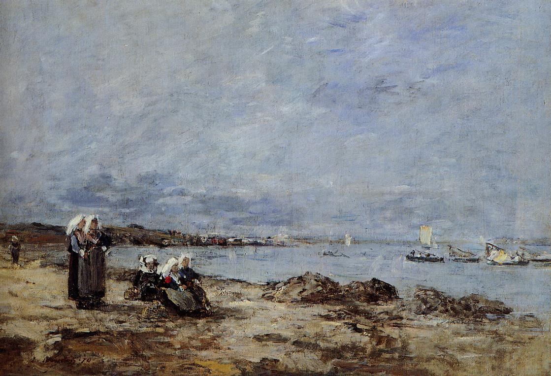 """Plougastel, women waiting for the ferry"",  1870,  by Eugene Boudin"