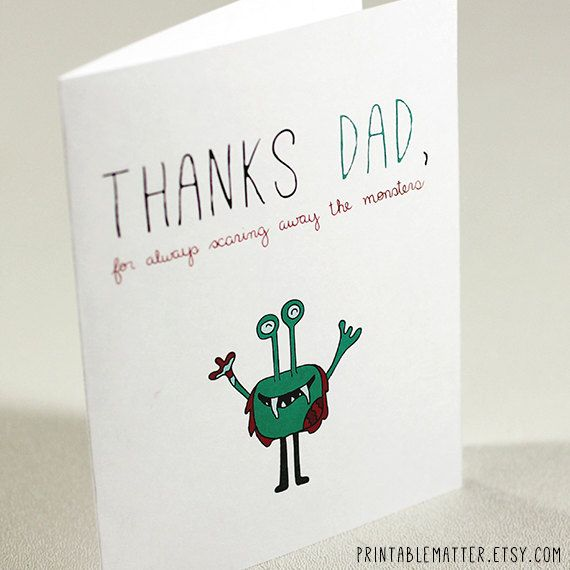 Funny fathers day dad birthday card thanks dad for always items similar to funny fathers day dad birthday card thanks dad for always scaring away the monsters instant digital download print on etsy bookmarktalkfo Gallery