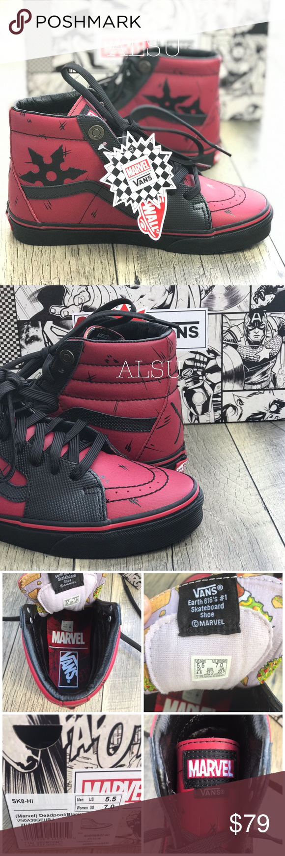 9872a5d934e NWT VANS Marvel SK8-HI Deadpool Black W AUTHENTIC Brand new with box! Price  is