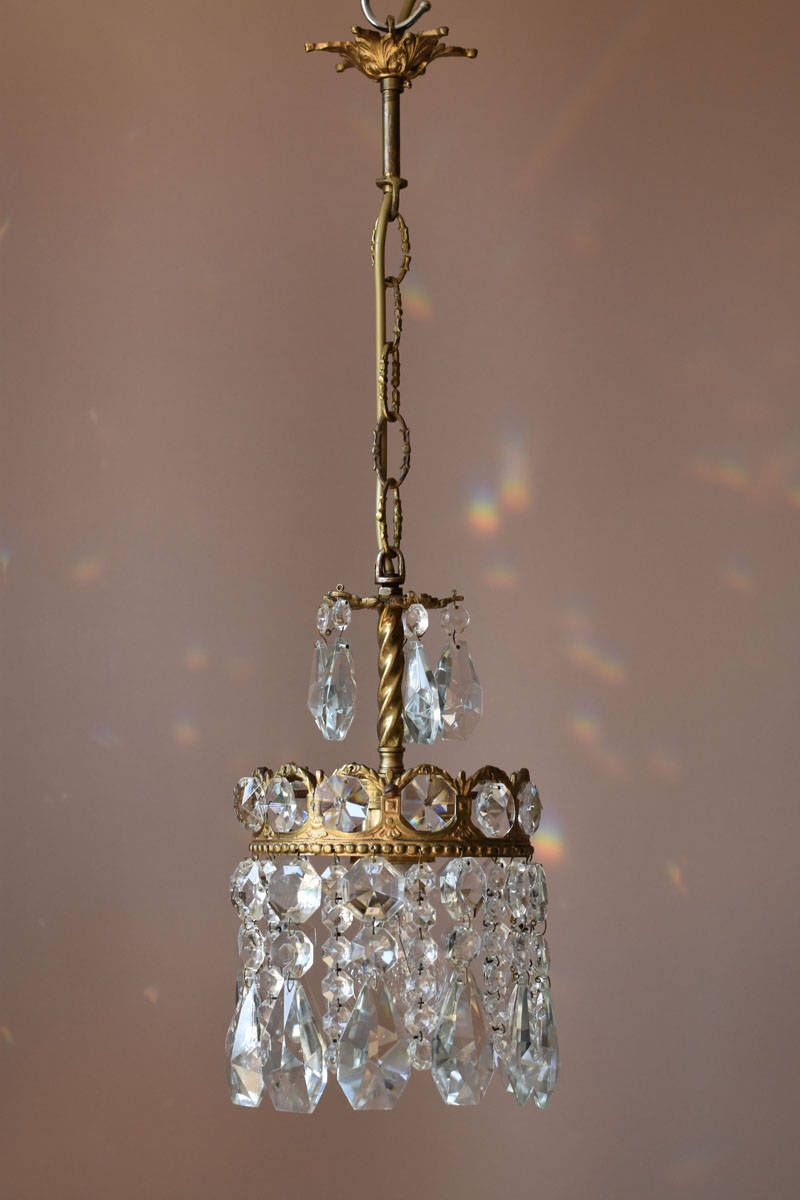 Petite brass pendant original mini crystal chandelier antique french petite brass pendant original mini crystal chandelier antique french vintage lead crystal chandeliers lamps lightings ceiling aloadofball Image collections