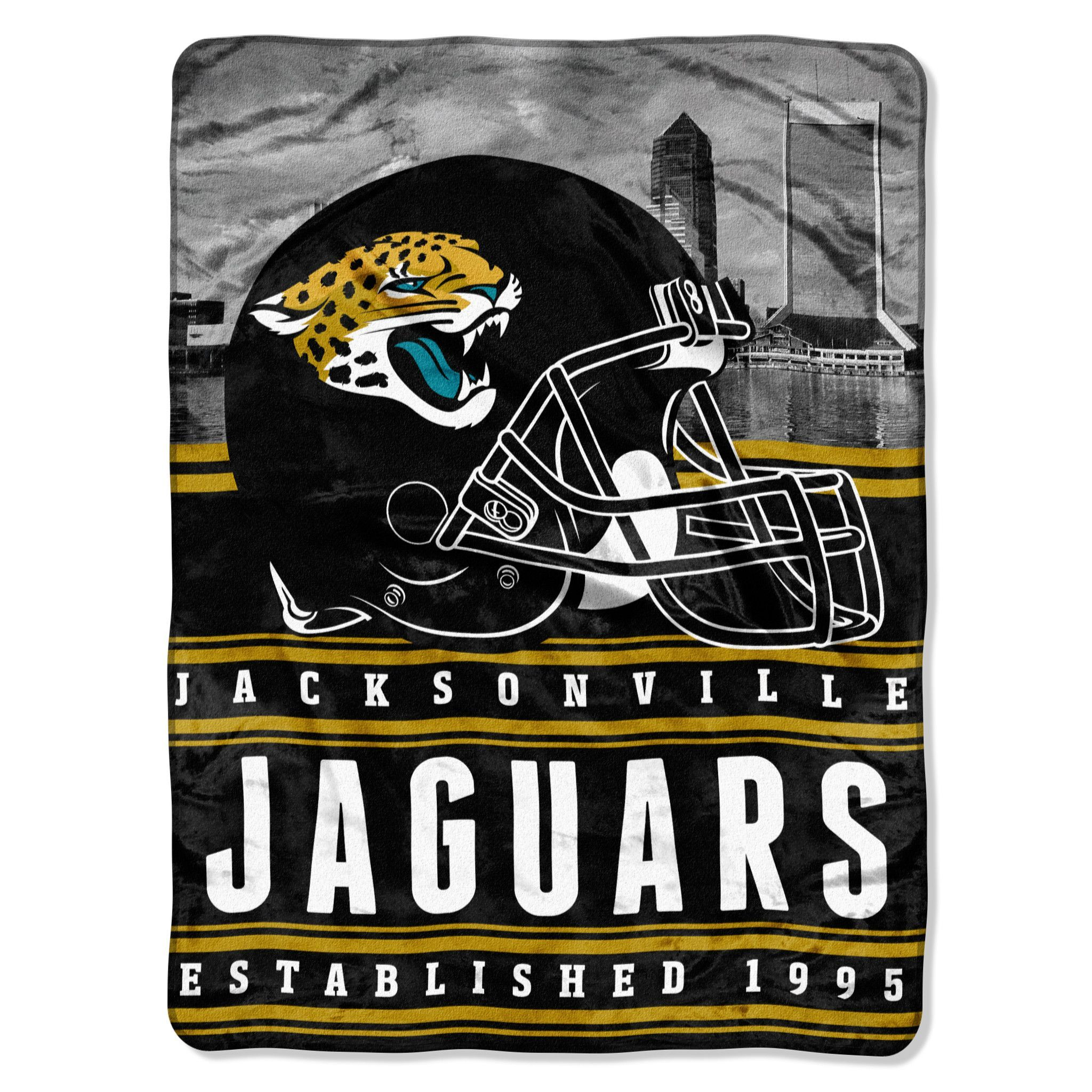 """Jaguars 50""""""""x60"""""""" Silk Touch Throw, """"""""Stacked"""""""" Series"""