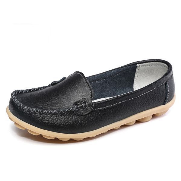 New 2016 Fashion Slip On Soft Shoes For Women Ladies Casual Wedges Breathable Genuine Leather Soft Shoes Flats Tenis Feminino