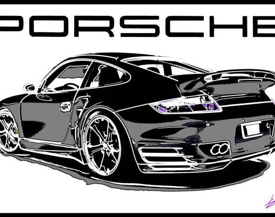 Tableau porsche turbo peinture pop art moderne car art pinterest voiture voitures porsche - Croquis voiture ...