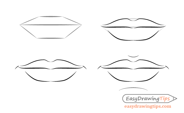 Male Lips Front View Drawing Step By Step Lips Drawing Step By Step Drawing Male Face
