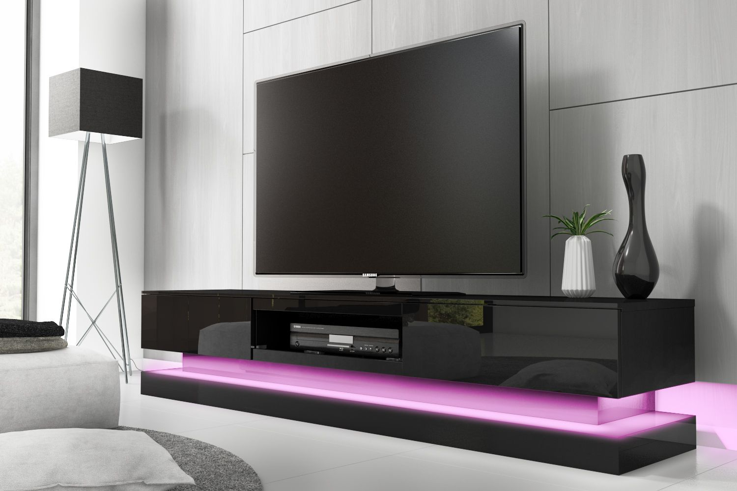 Evoque Black High Gloss Tv Unit With Lower Led Lighting
