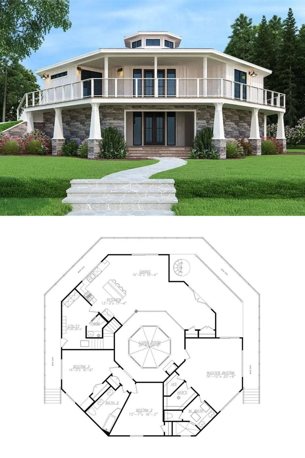 2 Story Modern Octagon House Plan with Wraparound Deck and Octagon House Interior