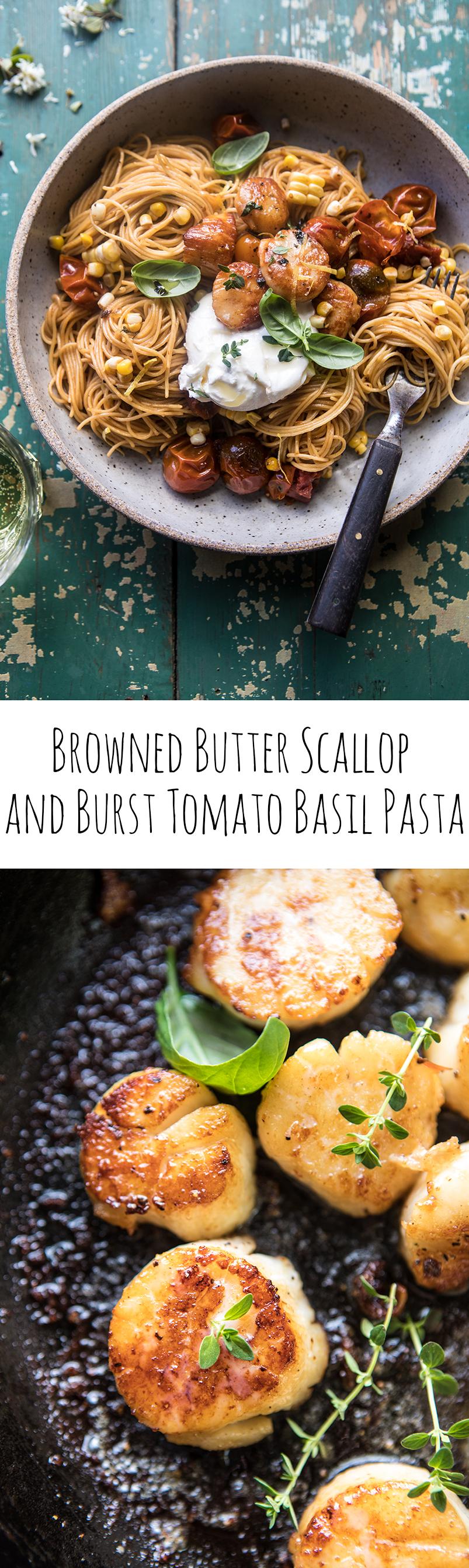 Browned Butter Scallop and Burst Tomato Basil Pasta   halfbakedharvest.com @hbharvest