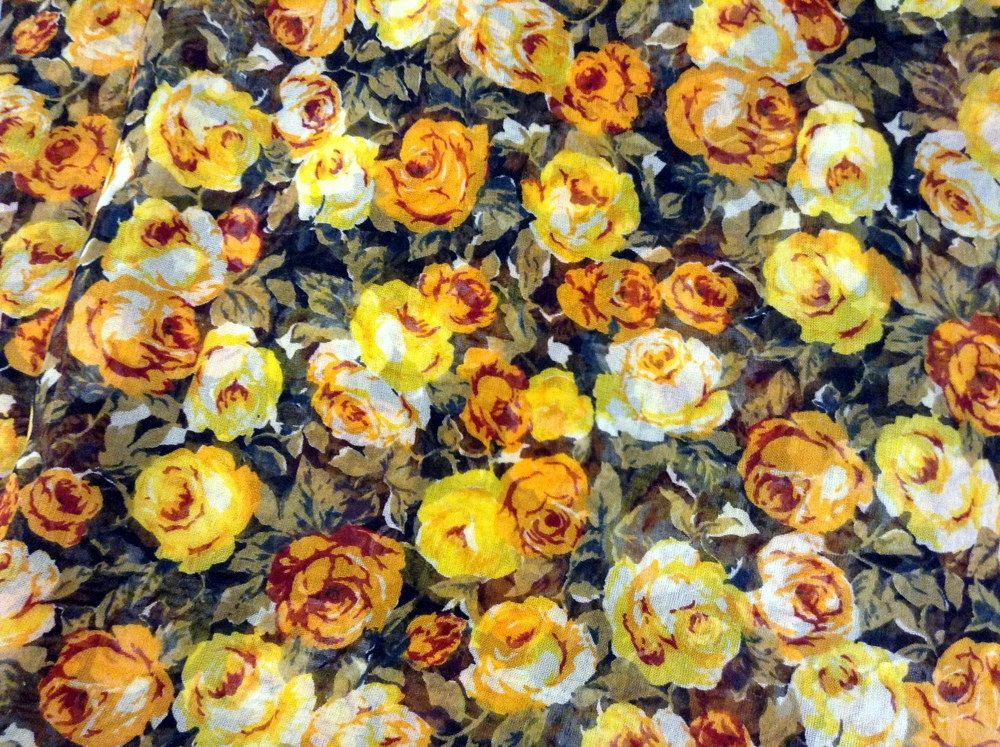 Fabric Sheer Roses Yellow and Orange by GoofingOffSewing on Etsy