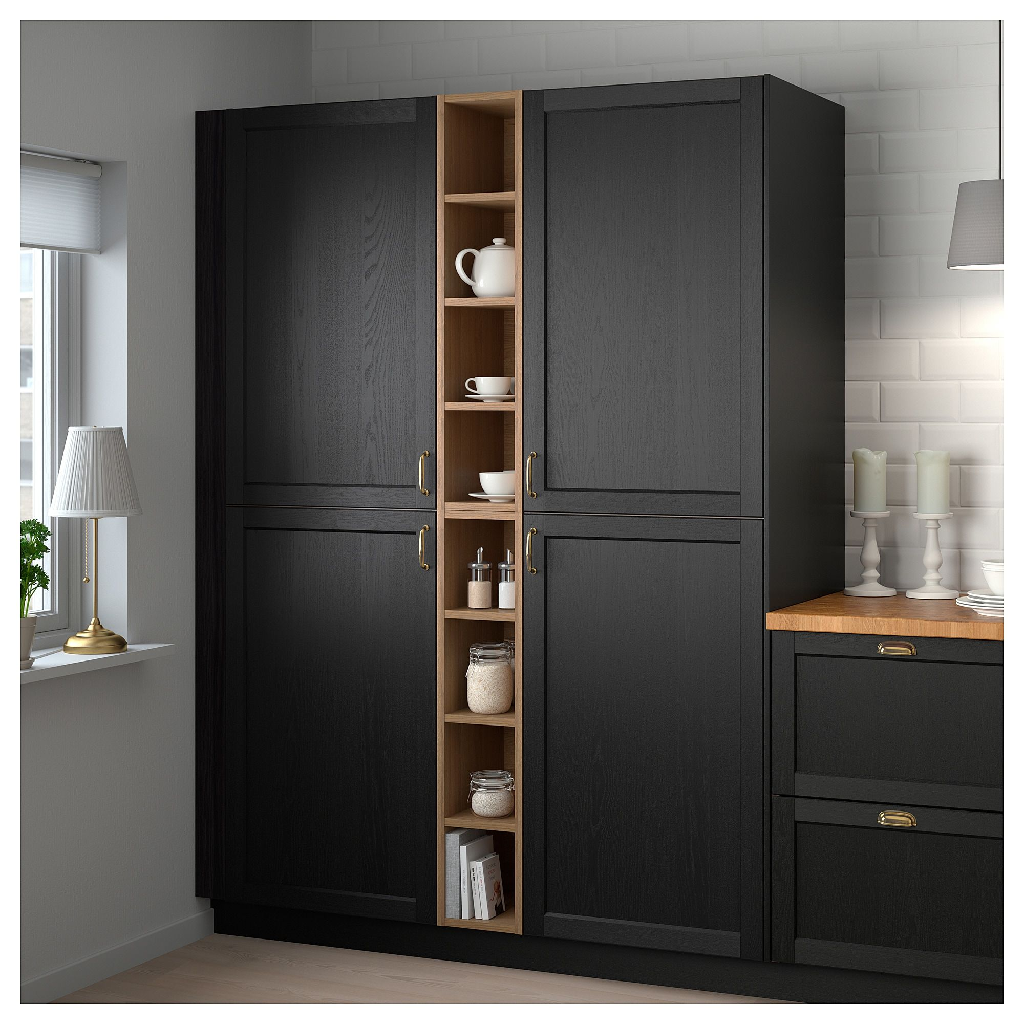 Kitchen Storage Cabinets Ikea: VADHOLMA Open Storage Brown, Stained Ash In 2019