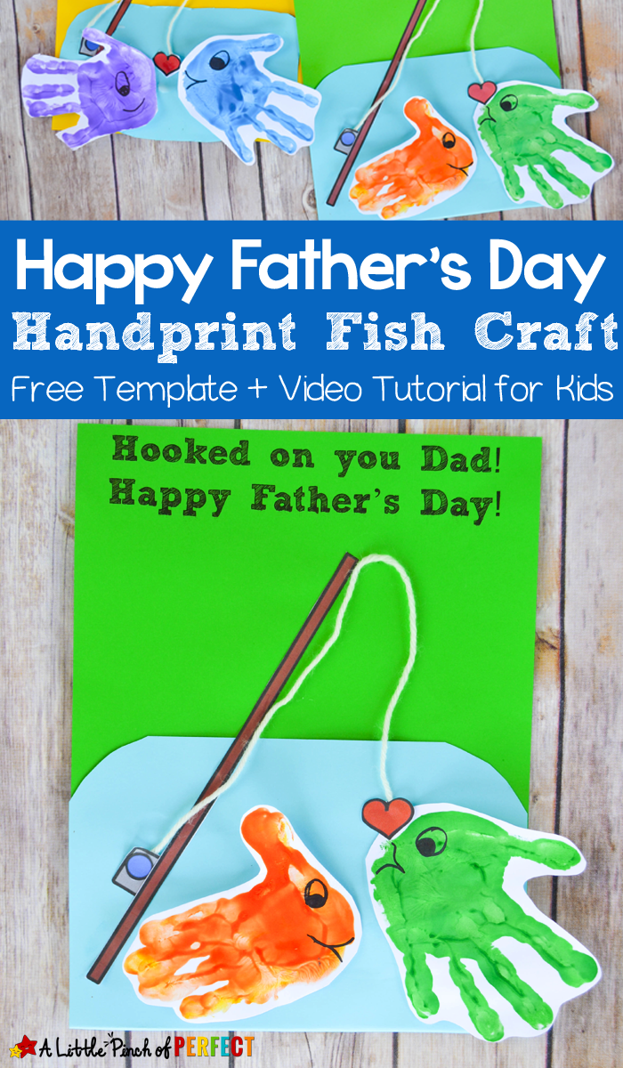 Happy Father S Day Handprint Fish Craft And Free Template Kids
