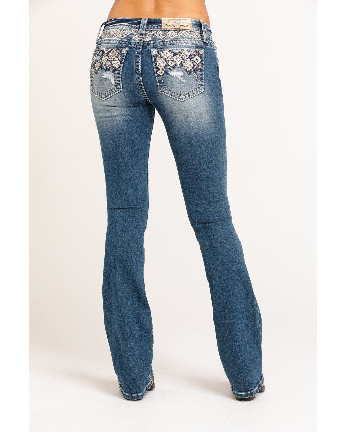 Miss Me Women's Medium Embroidered Aztec Low Rise Chloe Bootcut Jeans #aztec