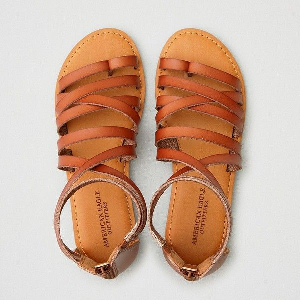 AE Back Zip Sandal (110 BRL) ❤ liked on Polyvore featuring shoes, sandals, brown, american eagle outfitters, toe loop sandals, american eagle outfitters shoes, strappy shoes and brown shoes