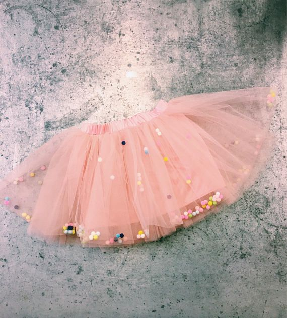 b0be3714bc Skirt tulle skirt with pom poms party skirt Birthday | Girls clothes ...
