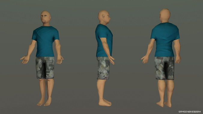 c5053a3dfeb1 Low Poly Man - IK Rigged – rigged free 3D model ready for CG projects.