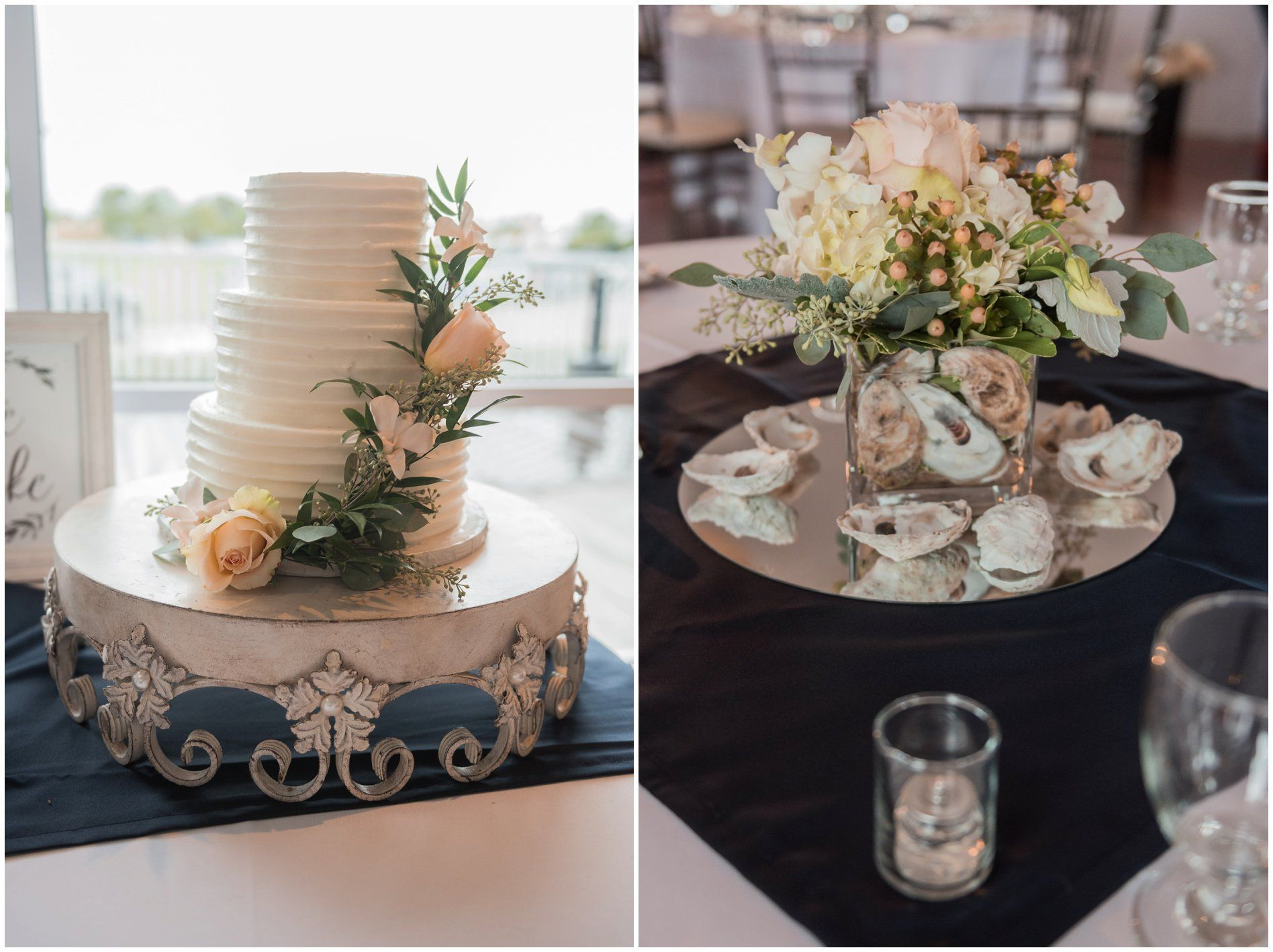 The Wedding Detail for a Oyster Farm Wedding in Eastern Shore Virginia Included The Oyster Shells In the table setting. Gorgeous Table settings and  Wedding Cake - #ElizabethHensonPhotos #oysterfarm #virginiaweddingphotographer