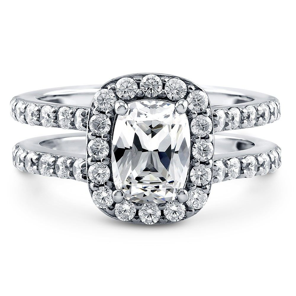 Sterling Silver Cushion CZ Halo Ring 2.4 CTW Sterling