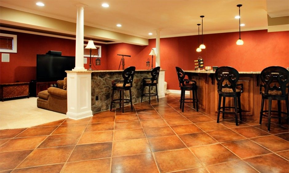 Basement Remodeler Set Interior luxurious basement bar interior design with cream ceramic flooring
