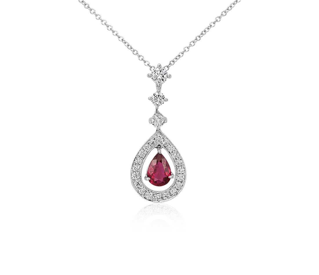 pear borsheims ruby gold necklace white diamond halo shaped pendant