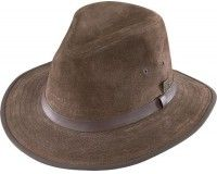 Henschel Mens Faux Ultra-Suede Leather Fedora with Satin Lining
