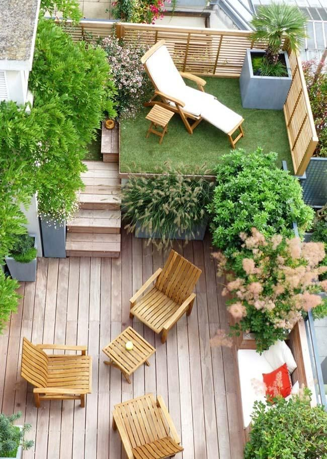 Small garden: 60 models and inspiring design ideas -  Small garden with different levels  -