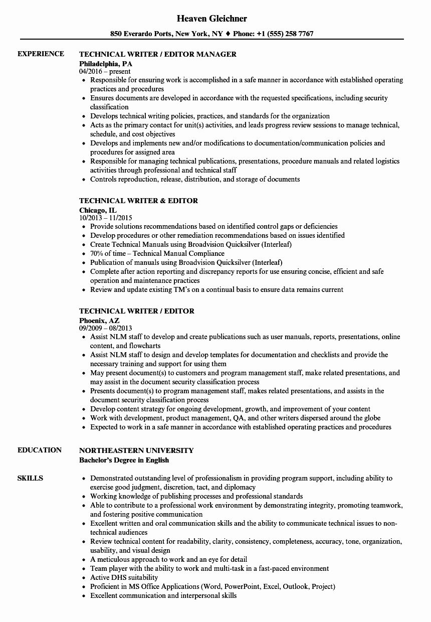 Technical Writer Resume Examples Best Of Technical Writer Editor Resume Samples Project Manager Resume Resume Examples Business Analyst Resume