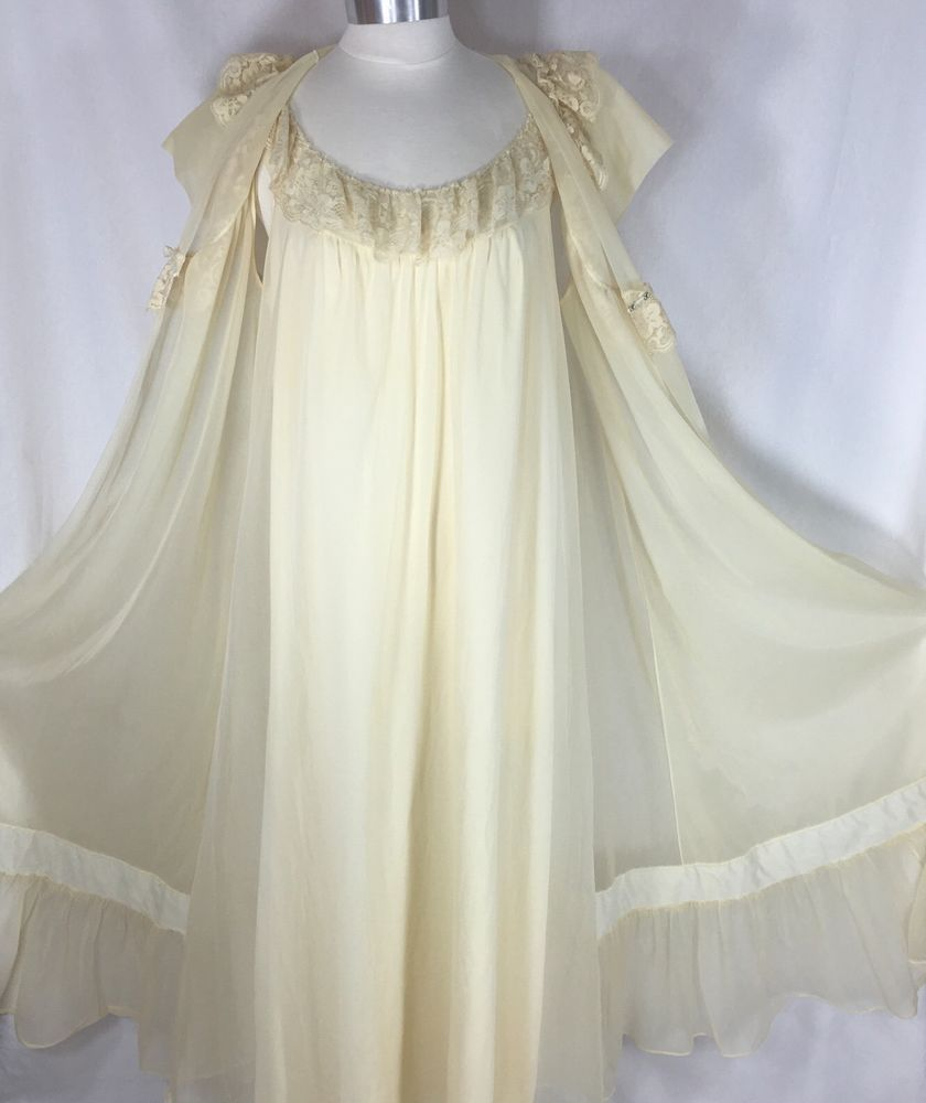 a146a6746 Vtg Shadowline Size Large Nylon Nightgown   Sheer Peignoir Set Full Sweep  Ivory. NightgownsVintage LingerieNylonsPjsFloral LaceLace ...