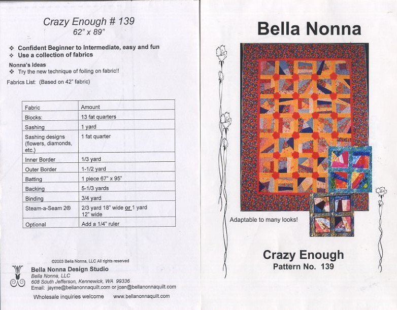 Crazy+Enough+-+Bella+Nonna+Quilt+Pattern+No+139