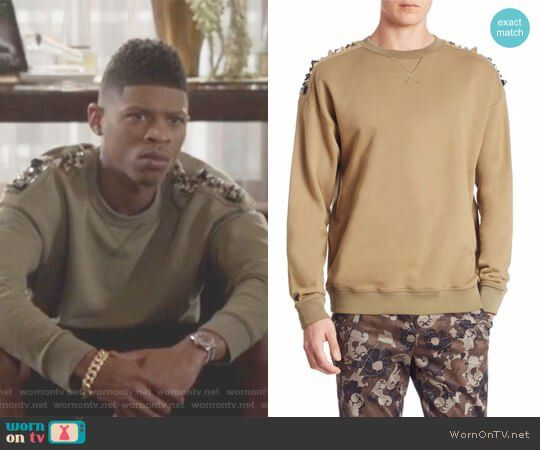 3c1d59cac26 Hakeem s green shoulder studded sweater on Empire. Outfit Details   https   wornontv