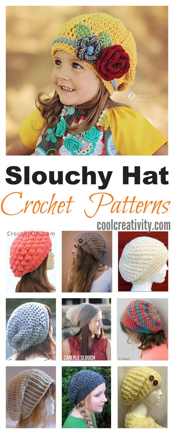 Slouchy Crochet Hat Patterns to Keep Warm and Fancy | Gorros, Tejido ...