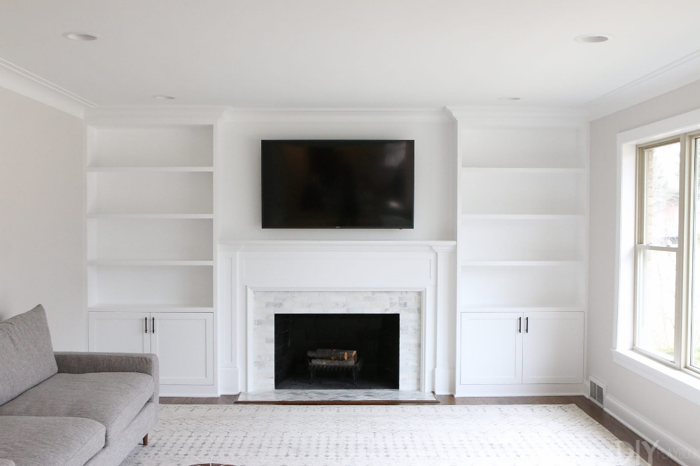 White Built Ins Around The Fireplace, Built In Cabinets Around Fireplace