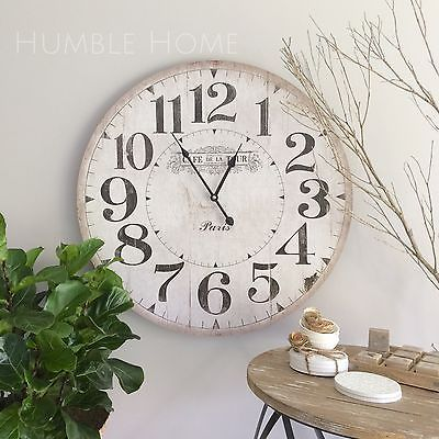Large 60cm Vintage Rustic Look White Wall Clock French Provincial Hampton S White Wall Clocks Wall Clocks Living Room Large Wall Clocks Living Room
