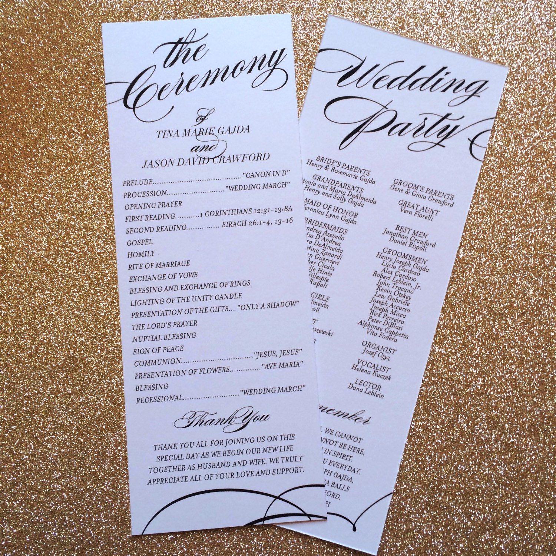 printable wedding program elegant wedding programs unique wedding