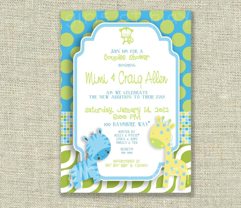 Baby Boy Shower Invitation Zoo Jungle Animals Blue green Yellow ...