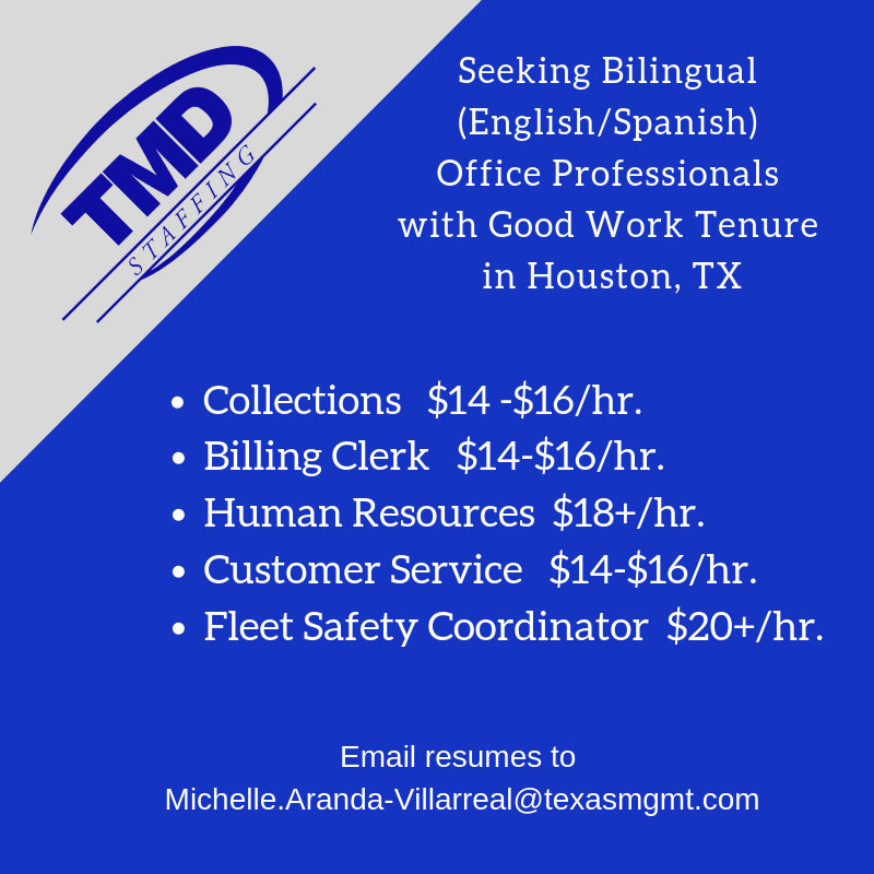 Tmd In Houston Tx Is Hiring Bilingual Office Professionals