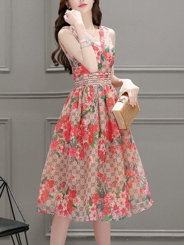 flor impresa con cuello en v plisado vestido Casual   Plisado, Flor ...