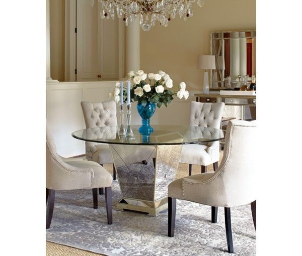 Marais Dining Room Furniture 7 Piece Set 60 Mirrored Dining Table And 6 Chairs Round Dining Room Table Dining Room Furniture Collections Round Dining Room