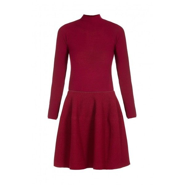 Emporio Armani Turtleneck Dress ($425) ❤ liked on Polyvore featuring dresses, red full skirt, full skirt, knee length fitted dresses, red knee length dress and fitted dresses